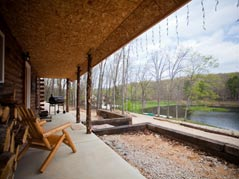 Cabin porch overlooking lake - Missouri Vacations