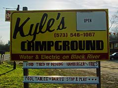 Kyle's Campground sign - Missouri Vacations