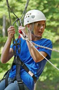girl on ropes course - Missouri Vacations