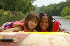 girls on raft - Missouri Vacations