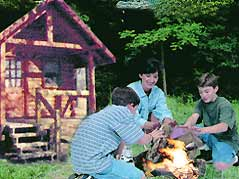 family making campfire - Missouri Vacations