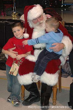 santa with kids on his lap - Missouri Vacations
