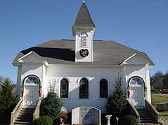 white church building - Missouri Vacations