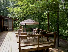 cabin deck with seating - Missouri Vacations