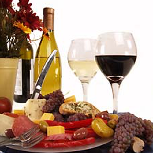 wine and cheese plate - Missouri Vacations